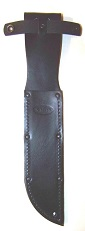 KA-BAR 1211-S Quality Embossed Black Leather Sheath that is both riveted and stitched for long lasting durability..