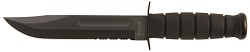 KA-BAR 1214 Non Reflective All Black Combo Edge 1095 Cro-Van Steel Full Tang Fighting Utility Knife With Non Slip Kraton G Elastomer Handle and Hard Shell Plastic Sheath.