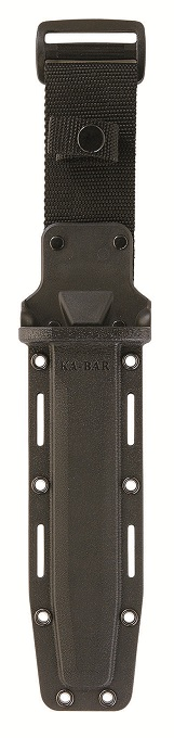 The KA-BAR Heavy duty hard shell non-reflective black plastic multiple mounting sheath.