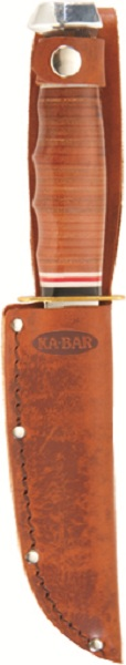 Brown Leather KA-BAR Embossed Hunting Knife Sheath.