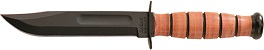 1251 KA-BAR Short 3/4 Size USA Straight Edge Leather Handle Clip Point Fighting Utility Knife with KA-BAR Embossed Leather Sheath.