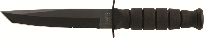KA-BAR 5055 USA  Made Short 3/4 Size Tactical Tanto With A Partially Serrated Combo Edge Blade.