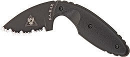 This is the original KA-BAR 1481 TDI Law Enforcement tactical self-defense serrated edge concealment back up knife.