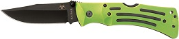 The KA-BAR 3058 Original Design Zombie Mule Straight Edge Stainless Steel  Folding Knife In Zombie Nuclear Green.