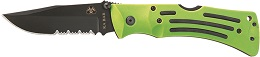 The KA-BAR 3059 Original Design Zombie Mule Combo Edge Stainless Steel  Folding Knife In Zombie Nuclear Green