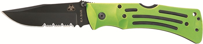 KA-BAR 3059 Combo Edge Zombie Mule Folding Lockback Pocket Knife with Reversible Pocket Clip.