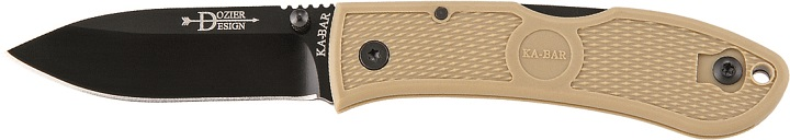 KA-BAR 4062CB Bob Dozier Designed Coyote Brown Folding Lockback Hunter Pocket Knife with Pocket Clip and Thumb Stud.