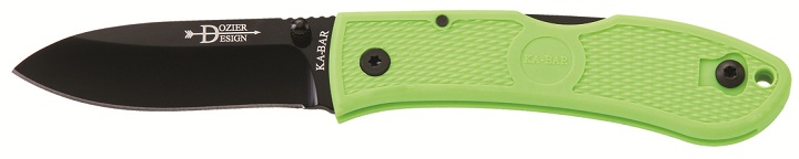 KA-BAR 4062ZG Zombie Nuclear Green Stainless Steel Lockback Hunter Folding Pocket Knife with Thumb Stud and Reversible Pocket Clip.