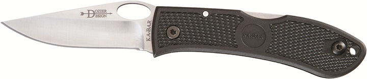 KA-BAR 4065 Bob Dozier Stainless Steel Thumb Notch Clip Point Lockback Folding Pocket Knife With Textured Black Zytel Handle.