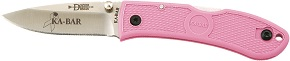 KA-BAR 4072PK Bob Dozier Pink Breast Research Stainless Steel Lockback Folding Hunter Pocket Knife with Textured Grip Scales and Thumb Stud Blade.