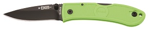 KA-BAR 4072ZG Bob Dozier Zombie Nuclear Green Stainless Steel Lockback Folding Hunter Pocket Knife with Textured Grip Scales and Thumb Stud Blade.