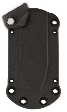 KA-BAR Becker BK14 Black Plastic Friction Release Neck Sheath with removable thumb lock.