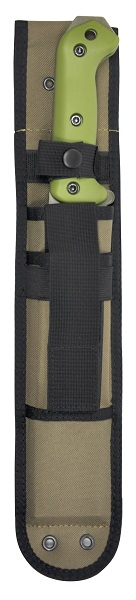 KA-BAR BK39 BECKER Specially Designed Tan Heavy-Duty Polyester Sheath with Front Storage Pouch and Lashing Ports.