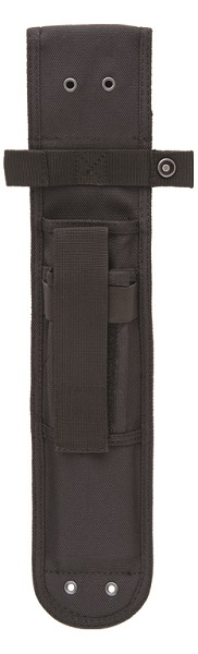 KA-BAR BECKER Specially Designed Black Heavy-Duty Polyester Sheath with Front Storage Pouch and Lashing Ports.