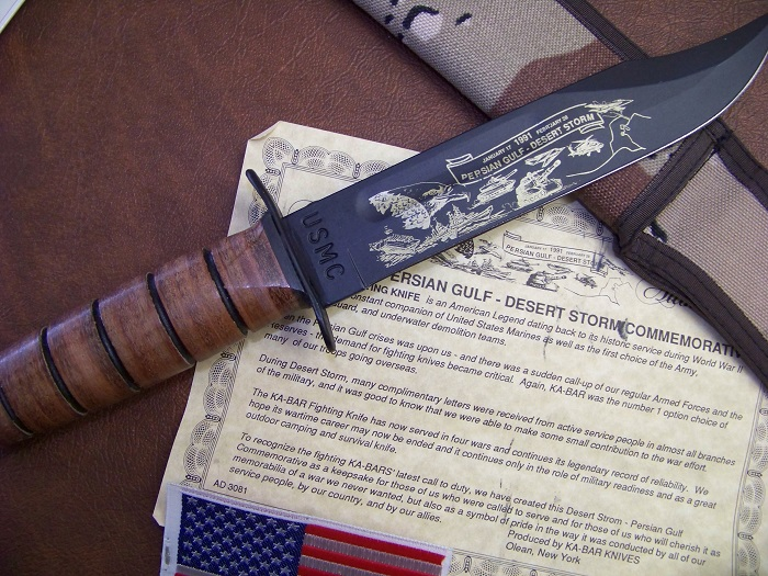 KA-BAR USMC Persian Gulf Desert Storm Commemorative Fighting Knife