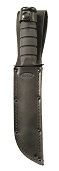 Quality black leather sheath both stitched and riveted for added strength and durability.
