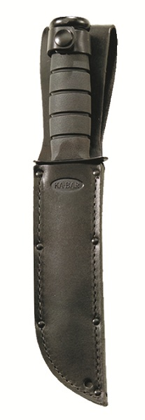 KA-BAR embossed quality black leather belt carry fixed blade sheath.