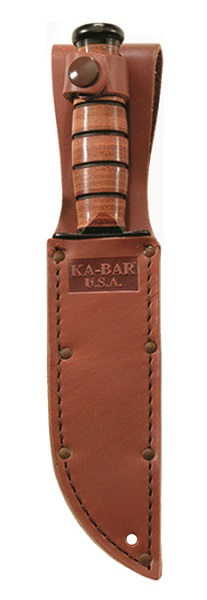 Quality brown leather embossed KA-BAR sheath