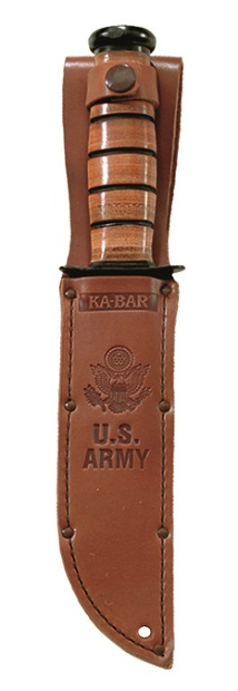 Quality KA-BAR brown leather U.S. Army embossed sheath with lashing hole and extra wide belt carry loop.